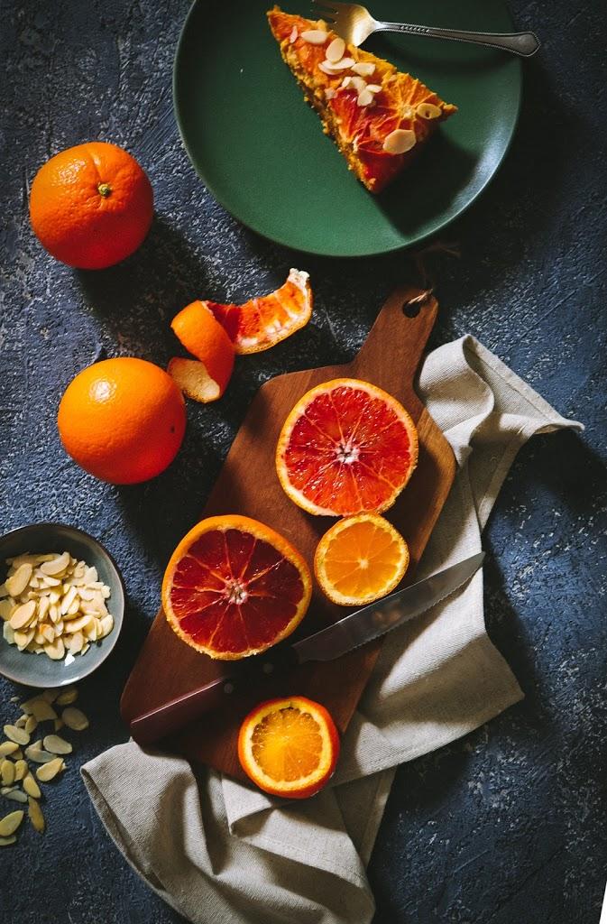 Obrátený koláč z červených pomarančov